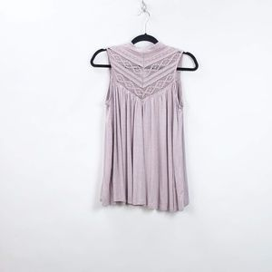Anthro Deletta Lilac Brenta Lace Pleated Tank Top